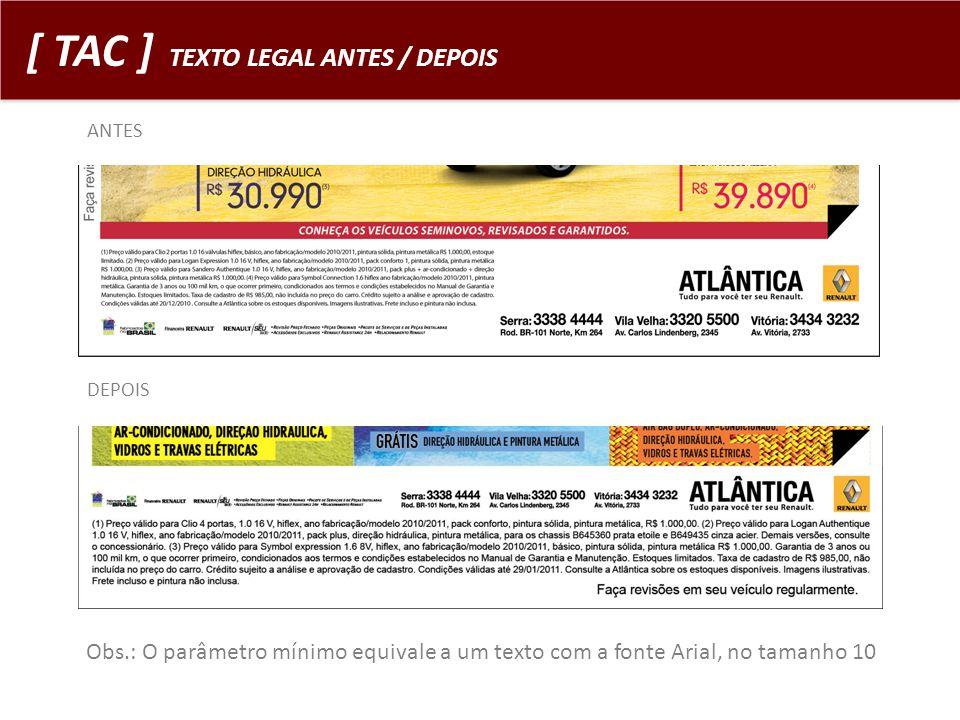[ TAC ] TEXTO LEGAL ANTES / DEPOIS